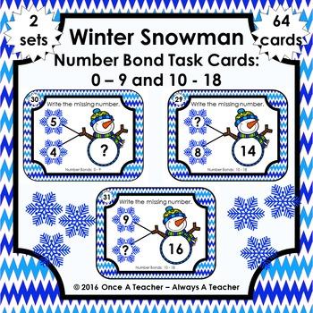 Number Bond Task Cards 0-18  •  Winter Snowman