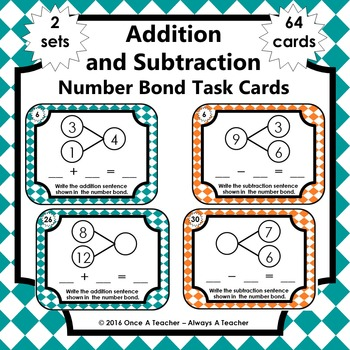 Number Bond Task Cards -  Addition and Subtraction Number
