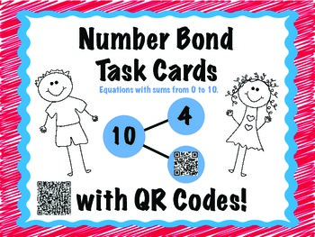 Number Bond Task Cards SUMS within 10 math centers QR Codes Self Correct CCSS