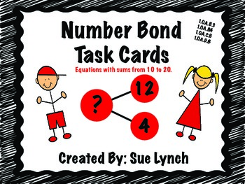 Number Bond Task Cards for math centers  CCSS aligned