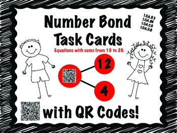 Number Bond Task Cards for math centers QR Codes Self Correct CCSS aligned
