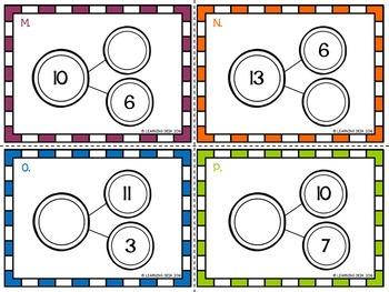 Number Bond Task Cards 1 to 20