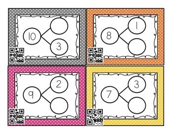Number Bond Task Cards with QR Codes