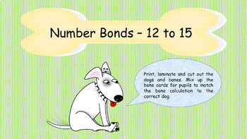 Number Bond Worksheets and Matching Game