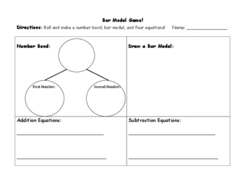 Number Bond and Bar Model Game: Activity for Math Strategy