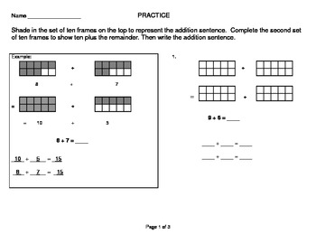 Number Bond and Ten Frame Addition Greater than 10 Singapore Methods