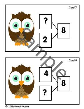 Number Bond/Fact Family Classroom Scavenger Hunt For #8 - Owl