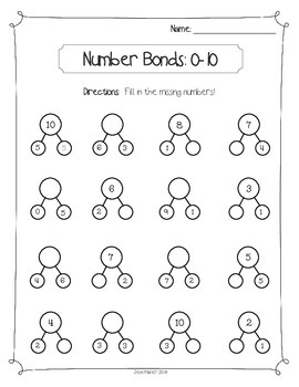 Number Bonds 0 to 10: Math Fact Review, Differentiated