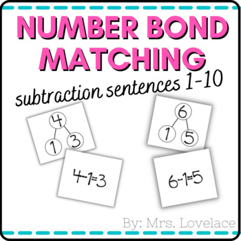 Number Bonds 1-10:  Matching Subtraction Number Sentences - Singapore Math