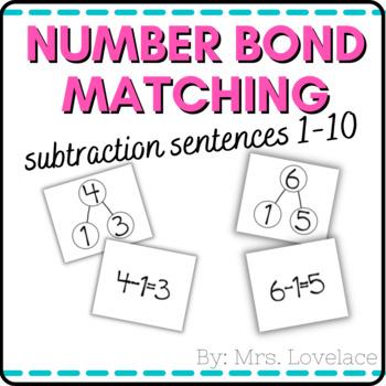 Number Bonds 1-10:  Matching Subtraction Number Sentences