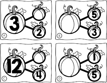 Number Bond Part Part Whole Task Cards Fall Pumpkins