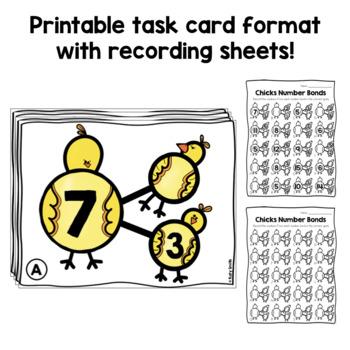 Number Bond Task Cards Spring Chicks