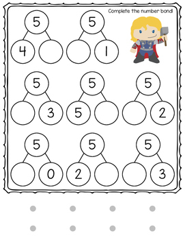 Number Bonds File Folder Match and Fill In: Super Heroes Themed