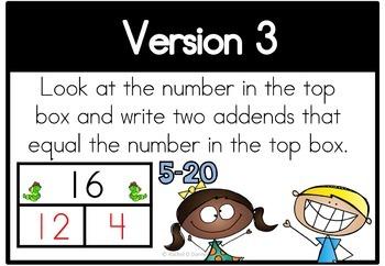 Math Center Number Bonds 5 - 20