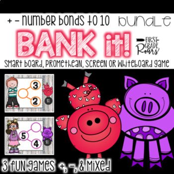 Number Bonds Adding & Subtracting to 10 BUNDLE Bank It~ Projectable Game