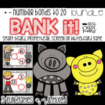 Number Bonds Adding & Subtracting to 20 BUNDLE Bank It~ Projectable Game