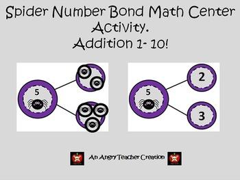 Number Bonds Addition 1-10 Halloween Spiders