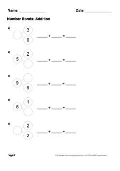 Number Bonds: Addition Worksheets