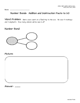 Number Bonds Addition & Subtraction to 20 Resource Pack * Over 40 pages