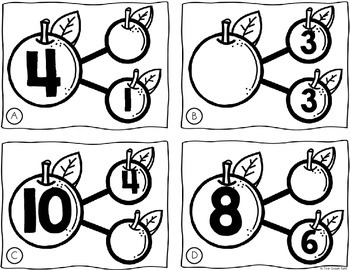 Number Bond Task Cards Fall Apples