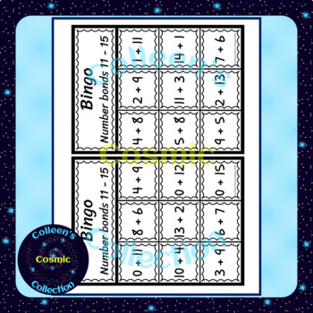 Number Bonds Bingo for numbers 11-15 for SMALL GROUPS in COLOUR