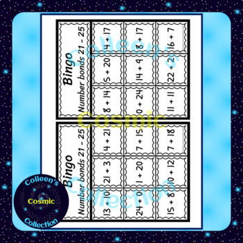 Number Bonds Bingo for numbers 21-25 in COLOUR