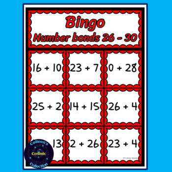Number Bonds Bingo for numbers 26-30 in COLOUR
