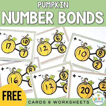 Number Bonds Cards & Worksheet: Pumpkins