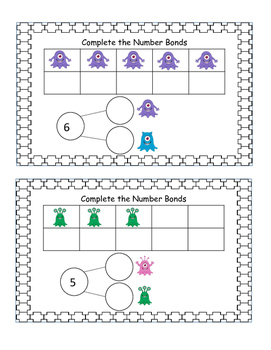 40 Monster Number Bonds Task Cards to Strengthen Adding and Subtracting Skills