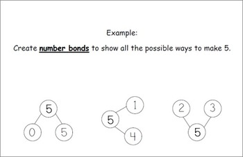Number Bonds - Common Core Take-home Math Project Grades K, 1, and 2