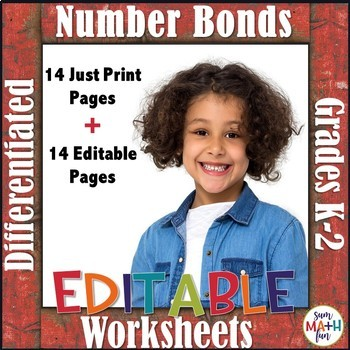 Fall Worksheets: Number Bonds - Differentiated Editable Pages