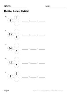 Number Bonds: Division Worksheets