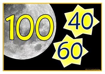 Number Bonds - Making 100 (Moon & Stars)