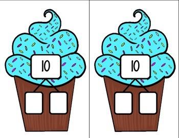 Number Sense Math Center - Number Bonds Math Center- Cupcake Theme