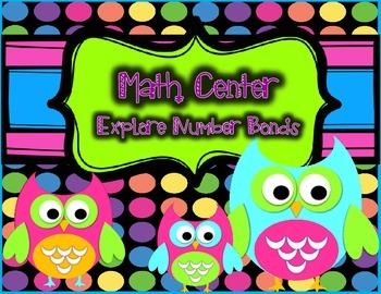 Number Sense Math Center - Number Bonds Math Center - Owl Theme