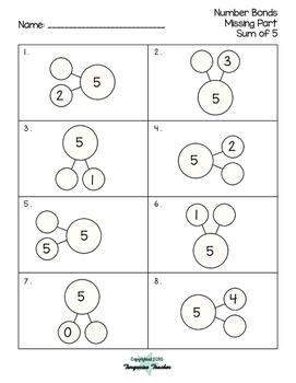 Number Bonds Missing Parts Packet
