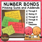Number Bonds - Part/Part/Whole - Missing Sums and Addends Worksheets