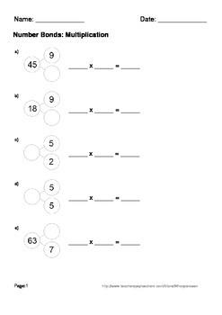 Number Bonds: Multiplication Worksheets