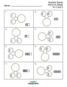 Number Bonds Parts to Whole Packet