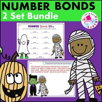 Number Bonds  Practice & Problem Solving BUNDLE Halloween October
