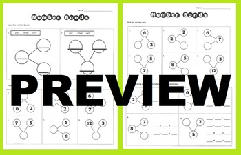 Number Bonds- Practice Worksheets Activity for basic addition and subtraction