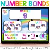 Number Bonds Rainbow Math for Google (TM) & PowerPoint | D