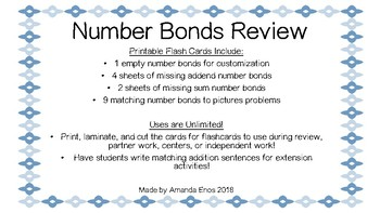Number Bonds Review Flash Cards