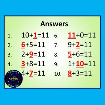 Number Bonds Speed Test for Number 11