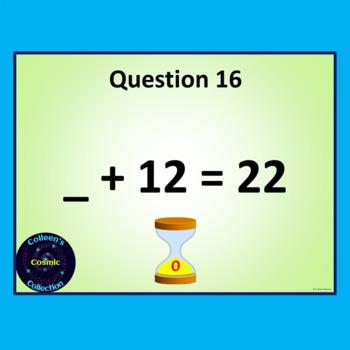 Number Bonds Speed Test for Number 22