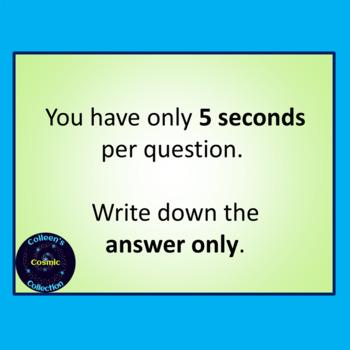 Number Bonds Speed Test for Number 9