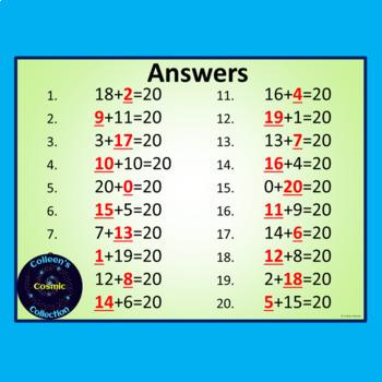 Number Bonds Speed Tests for Numbers 11 - 20 BUNDLE