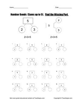 Number Bonds Sums to Five.  Find the Missing Part