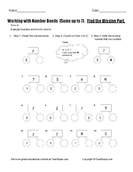 Number Bonds Sums to Seven. Find the Missing Part. Common Core. Form A