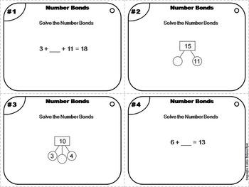 Number Bonds Task Cards 2nd 3rd Grade/ Number Bonds Practice